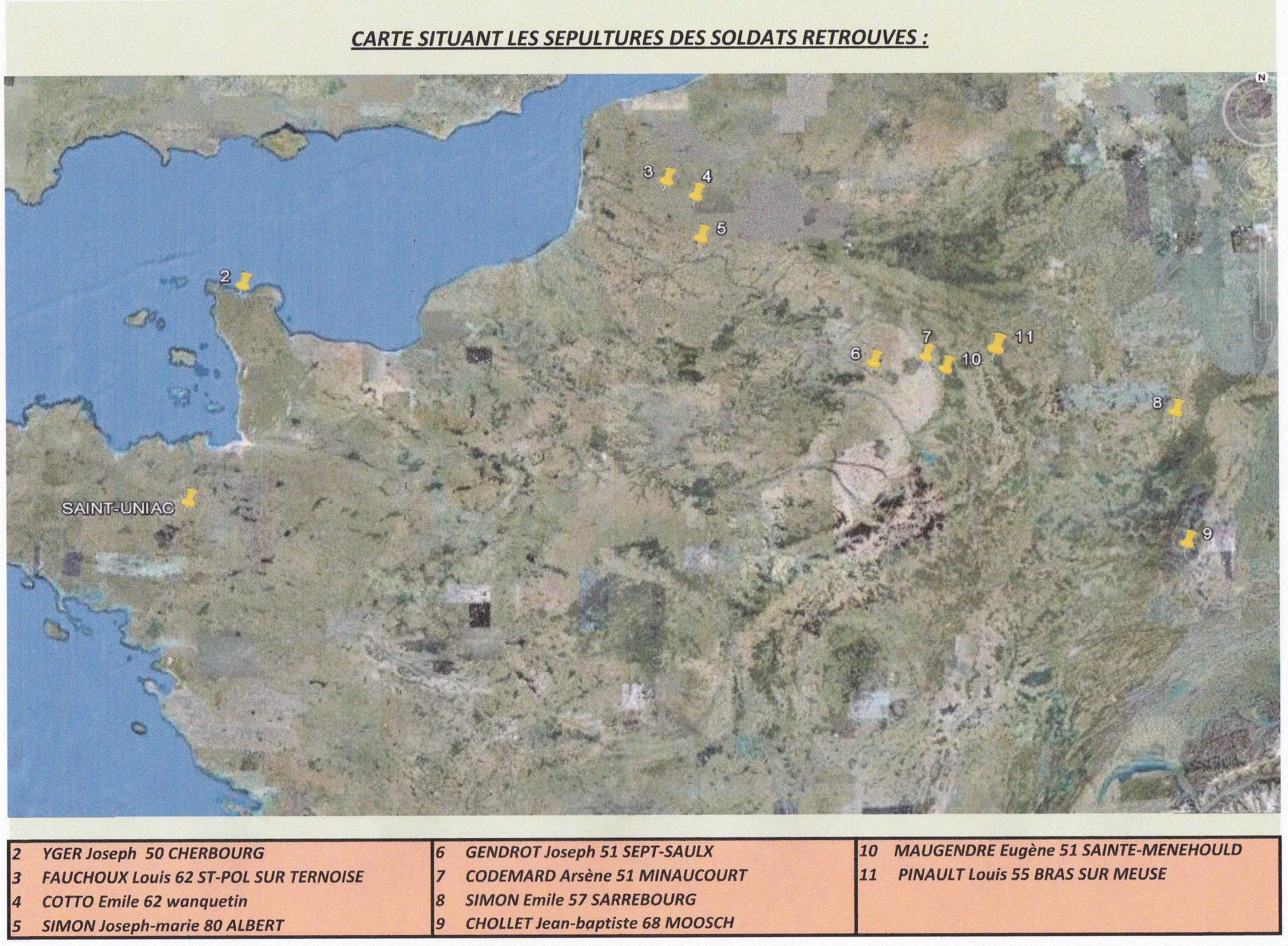Carte de situation des sépultures : IMG1