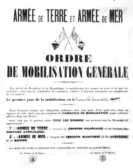 Affiche de mobilisation générale dimanche 2 août 1914 :  affiche-mobilisation-19141